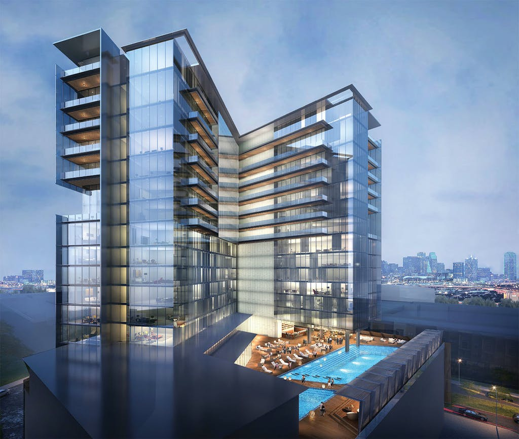A rendering of the Virgin Hotel going up in the Dallas Design District.