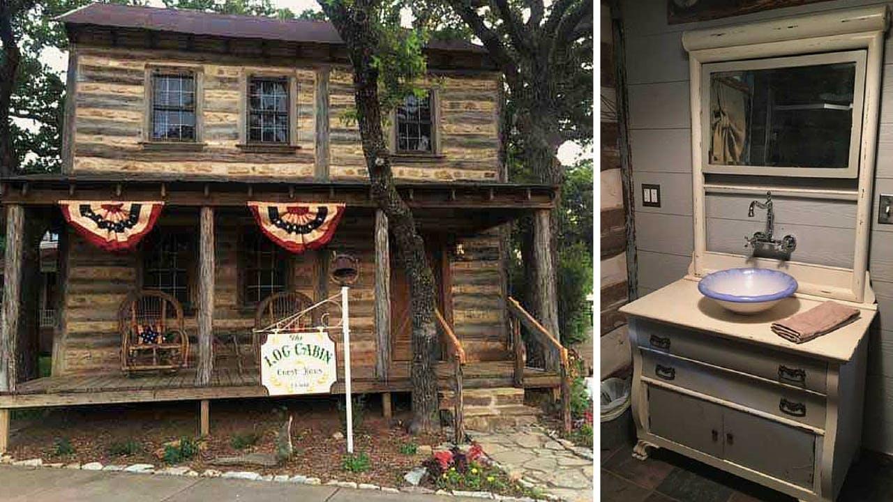 rustic texas vacation rentals cisco The Log Cabin Guest Haus