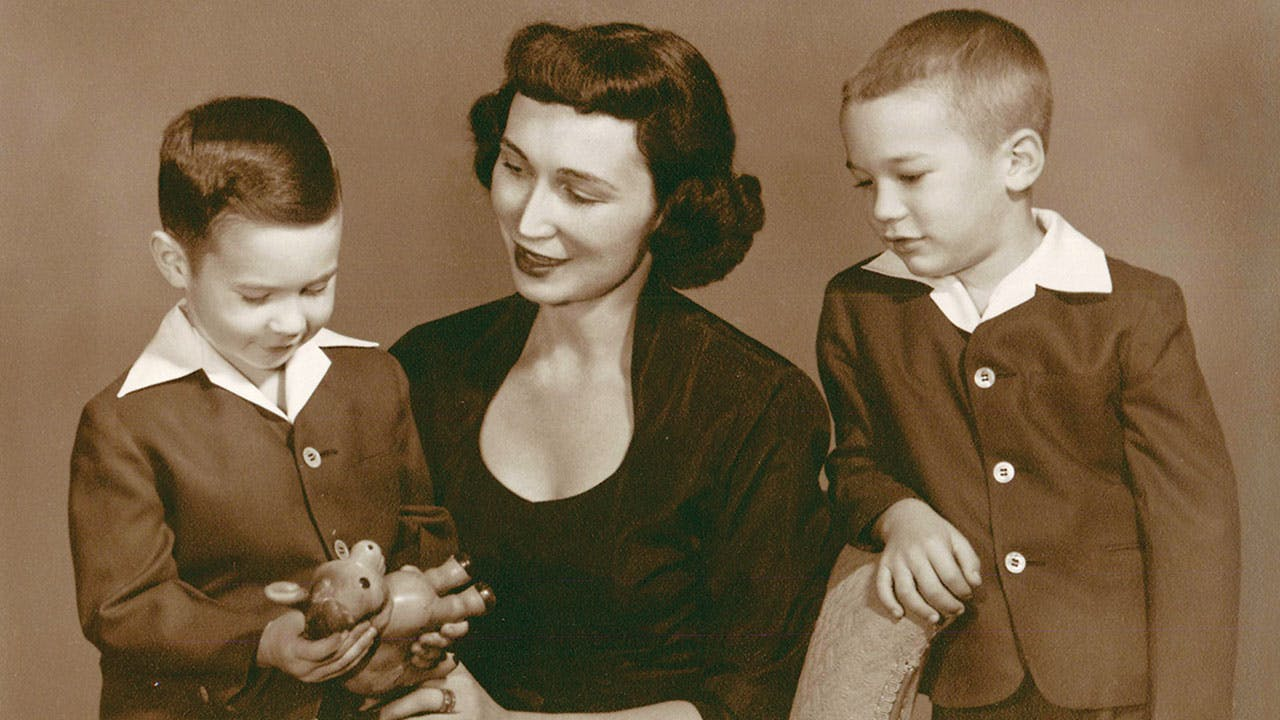 Marjorie with Stephen and Jim in 1952.