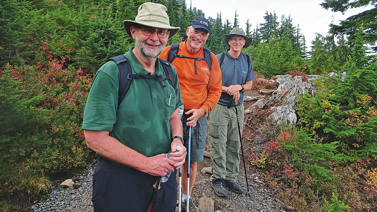 The author with his brothers, Jim and Tommy, on the trail to the Pilchuck summit.