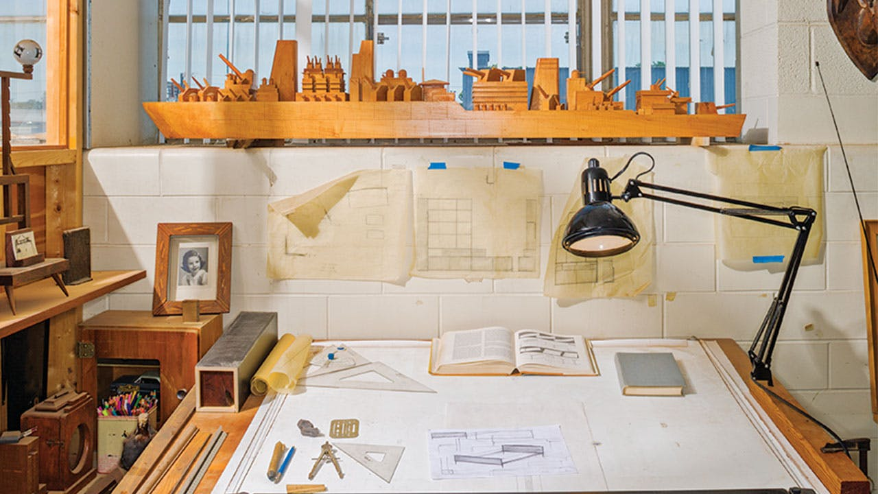 The drafting desk where Phillips sketches out all of his designs.