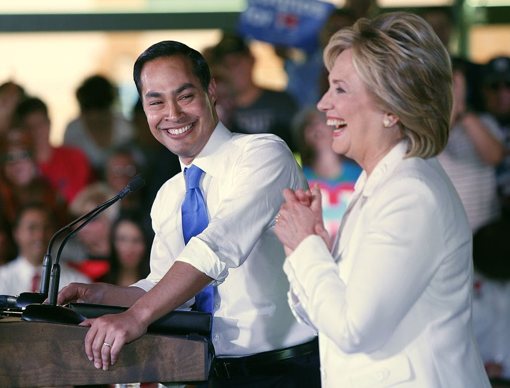"Secretary of Housing and Urban Development Secretary Julian Castro introduces Democratic presidential candidate Hillary Clinton at a ""Latinos for Hillary"" grassroots event October 15, 2015 in San Antonio, Texas."