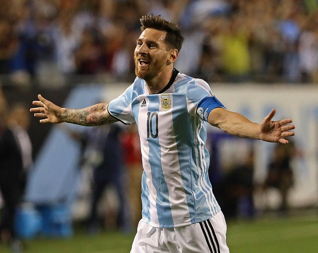 Lionel Messi of Argentina celebrates his second goal against Panama during a match in the 2016 Copa America Centenario at Soldier Field on June 10, 2016 in Chicago, Illinois.