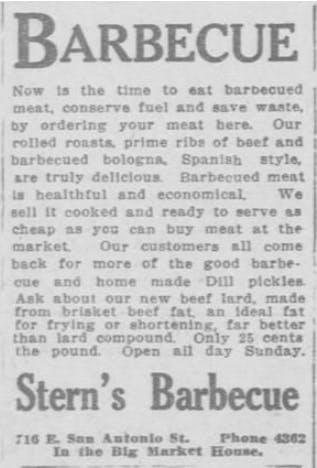 Sterns BBQ 1918 El Paso Herald