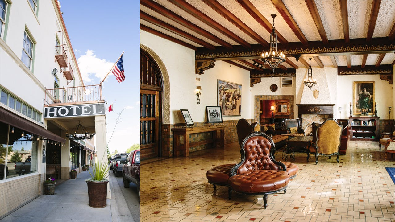 The front entrance (left) and lobby (right) of the historic Holland Hotel.