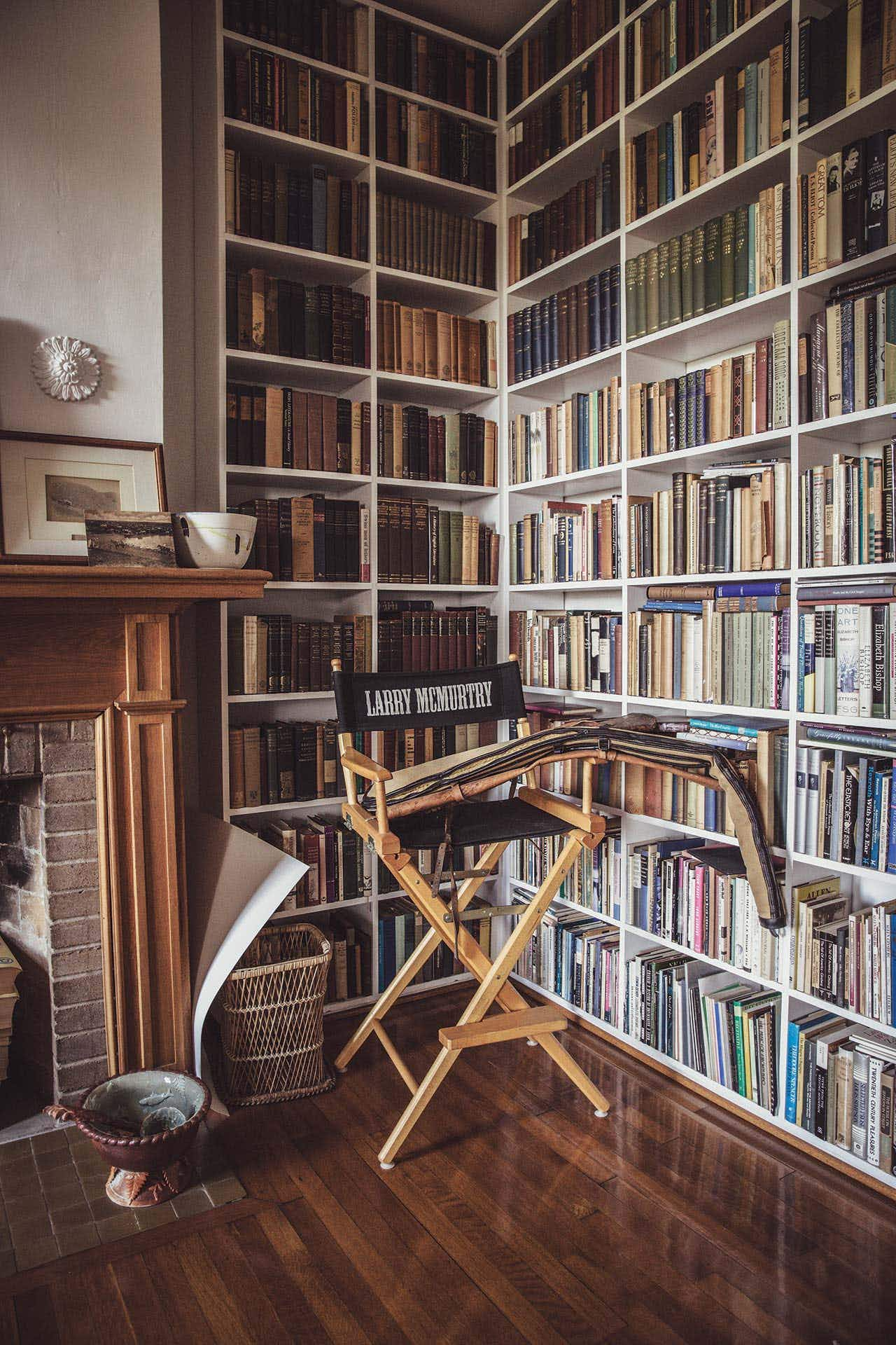 A view of one of the many floor-to-ceiling bookcases at his home in Archer City.