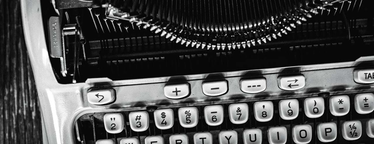 McMurtry's manual typewriter, a Hermes 3000.