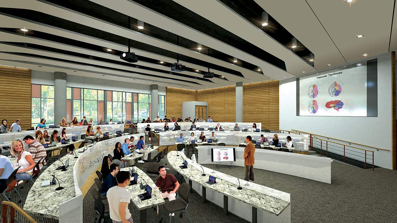 A rendering of Dell Medical School's Health Learning Building Auditorium.