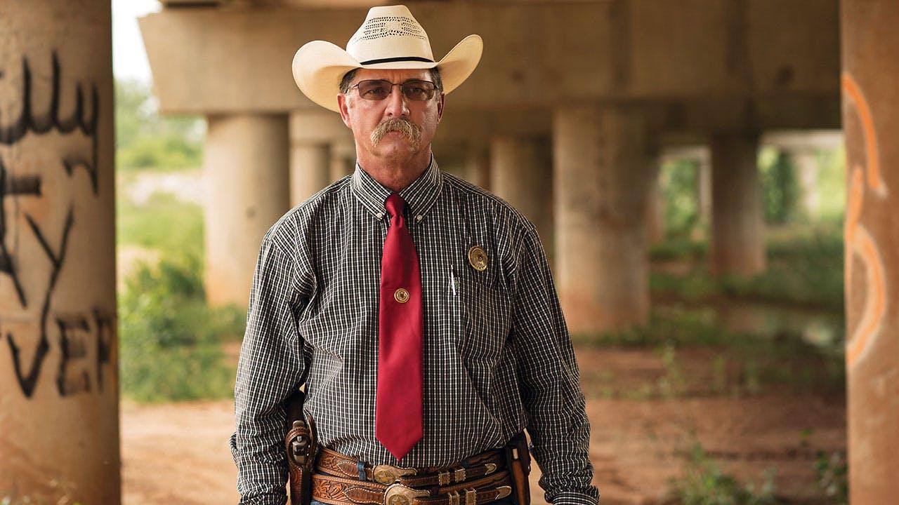 Sheriff Kenny Lemons Jr. standing beneath the Texas Highway 79 bridge on May 26, 2016.