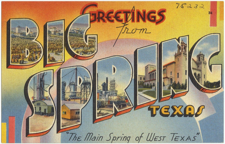 Big Spring vintage texas postcard