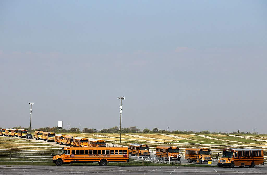 School buses transport students on September 29, 2015 in Fort Worth City.