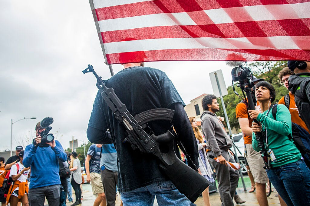 AUSTIN, TX - DECEMBER 12: Gun activists march close to The University of Texas campus December 12, 2015 in Austin, Texas.
