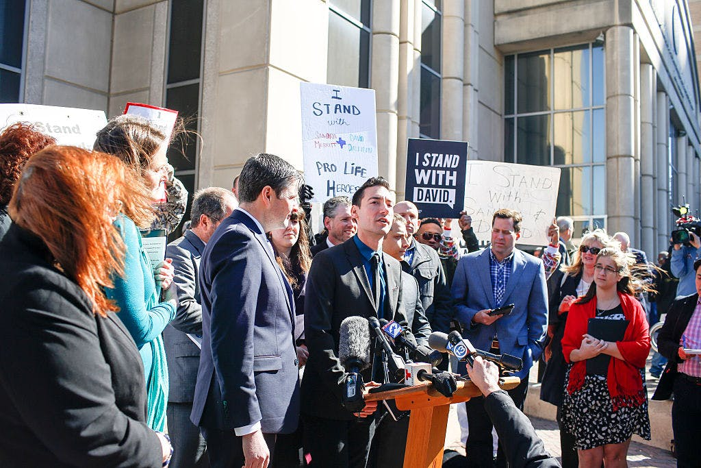 David Daleiden, a defendant in a Planned Parenthood video, speaks to media Thursday Feb. 4, 2016 in Houston outside the Harris County Courthouse.
