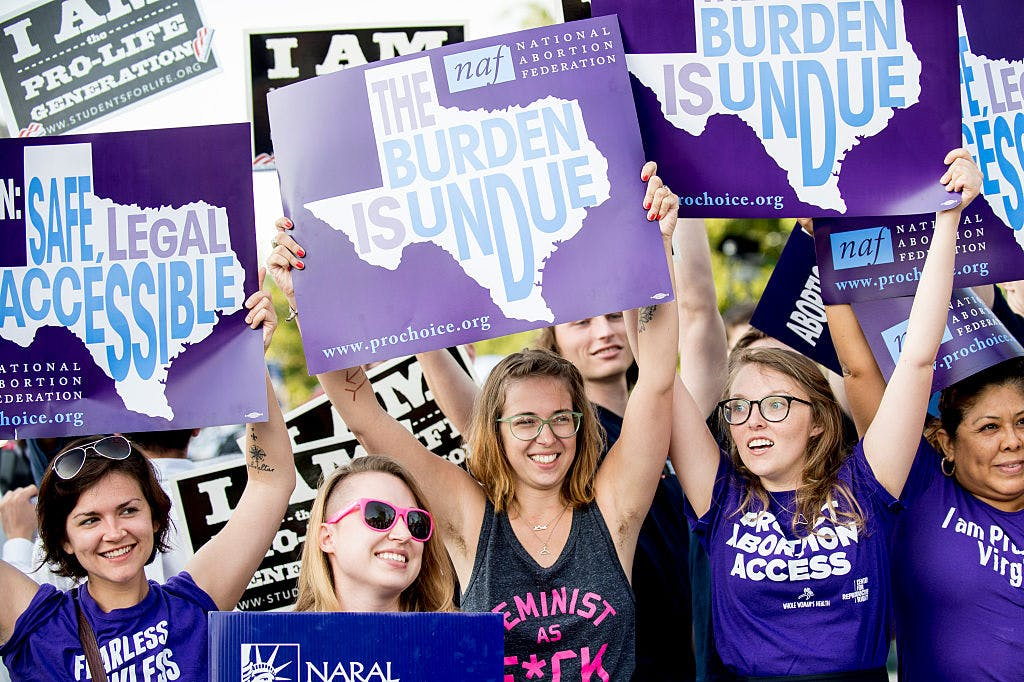 Pro-choice activists wait for rulings in front of the U.S. Supreme Court on June 27, 2016 in Washington, DC.
