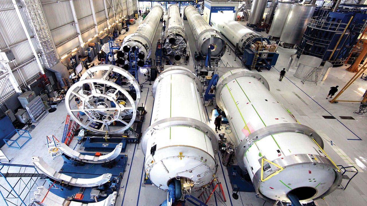 Inside the SpaceX headquarters, in Hawthorne, California.