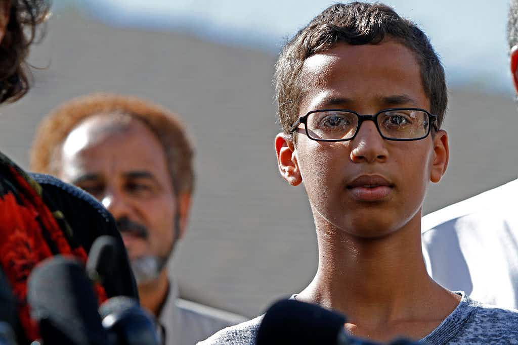 IRVING, TX - SEPTEMBER 16: 14-year-old Ahmed Ahmed Mohamed speaks during a news conference on September 16, 2015 in Irving, Texas.