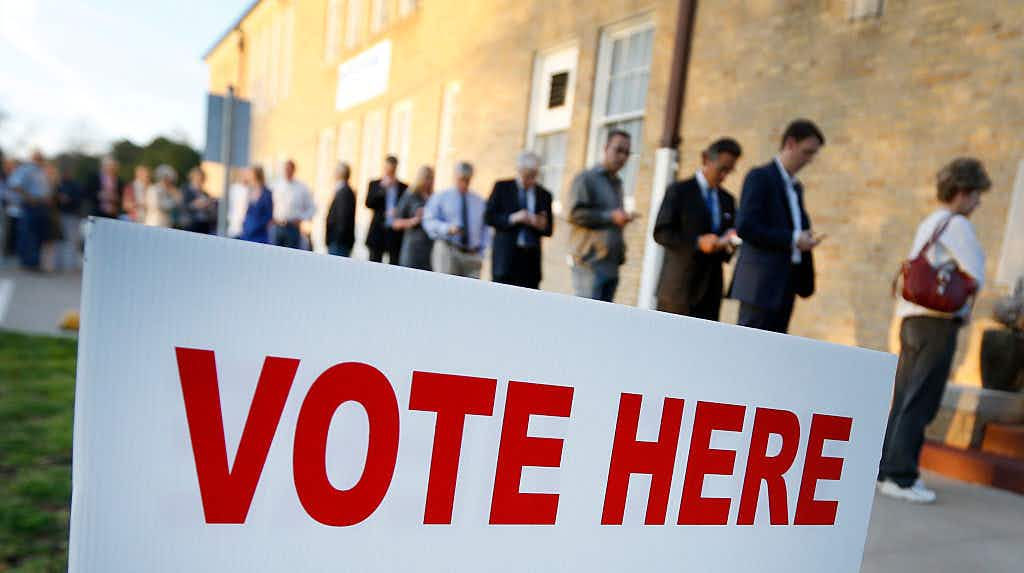 FORT WORTH, TX - MARCH 1: Voters line up to cast their ballots on Super Tuesday March 1, 2016 in Fort Worth, Texas.
