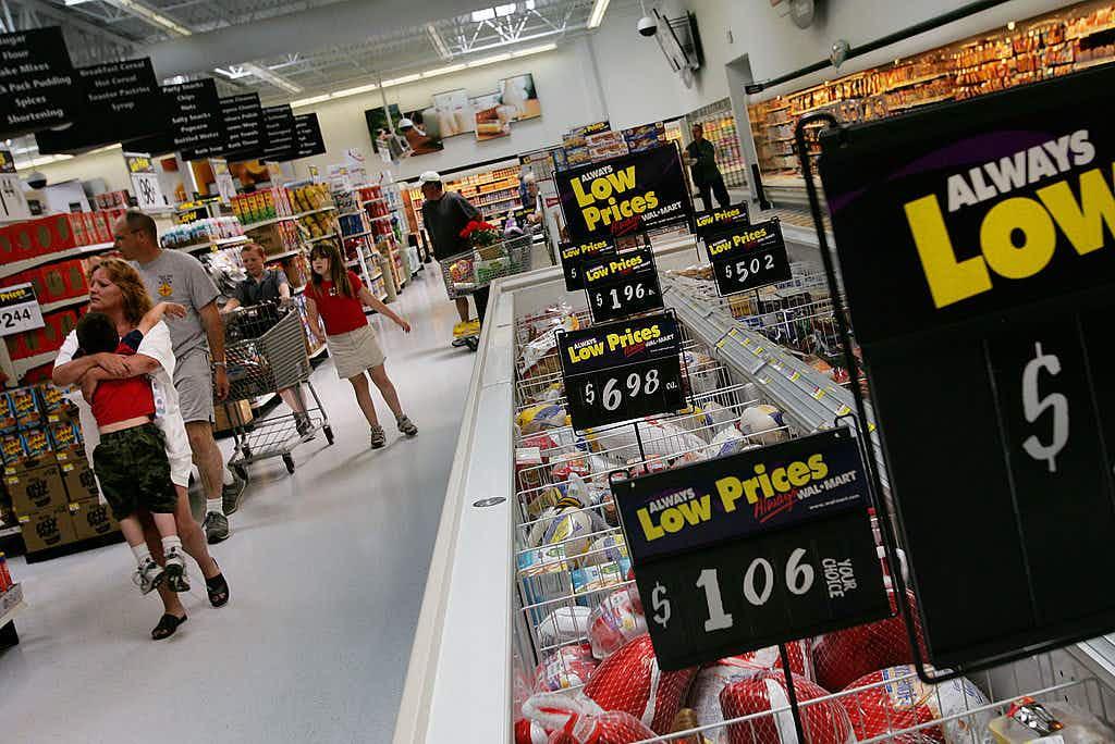 DUMAS, TX - MAY 14: Shoppers wind their way through the aisles of a Wal-Mart May 14, 2005 in Dumas, Texas.