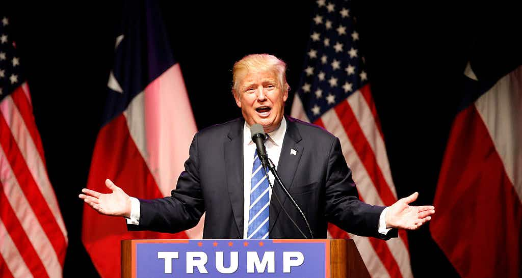 DALLAS, TX - JUNE 16: Republican presidential candidate Donald Trump speaks on June 16, 2016 at Gilley's in Dallas, Texas.
