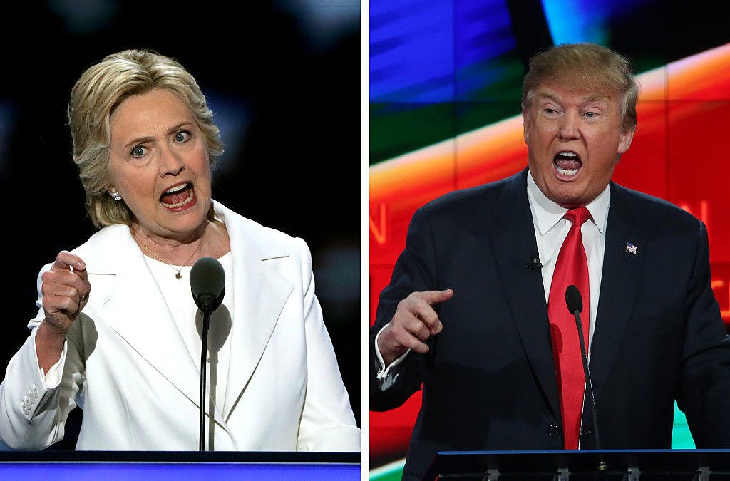 (FILE PHOTO) In this composite image a comparison has been made between former US Presidential Candidates Hillary Clinton (L) and Donald Trump (R).