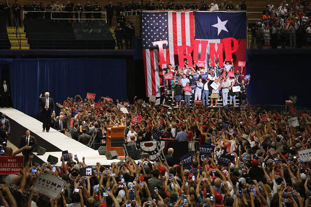 Republican Presidential nominee Donald Trump arrives to address supporters on August 23, 2016 in Austin, Texas.