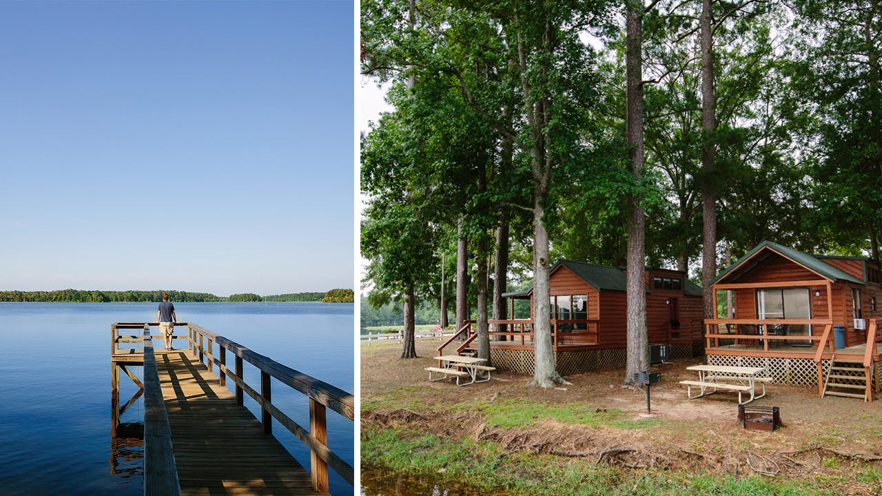 The fishing pier (left) and a cabin (right) at Harborlight Marina and Resort, in Hemphill.