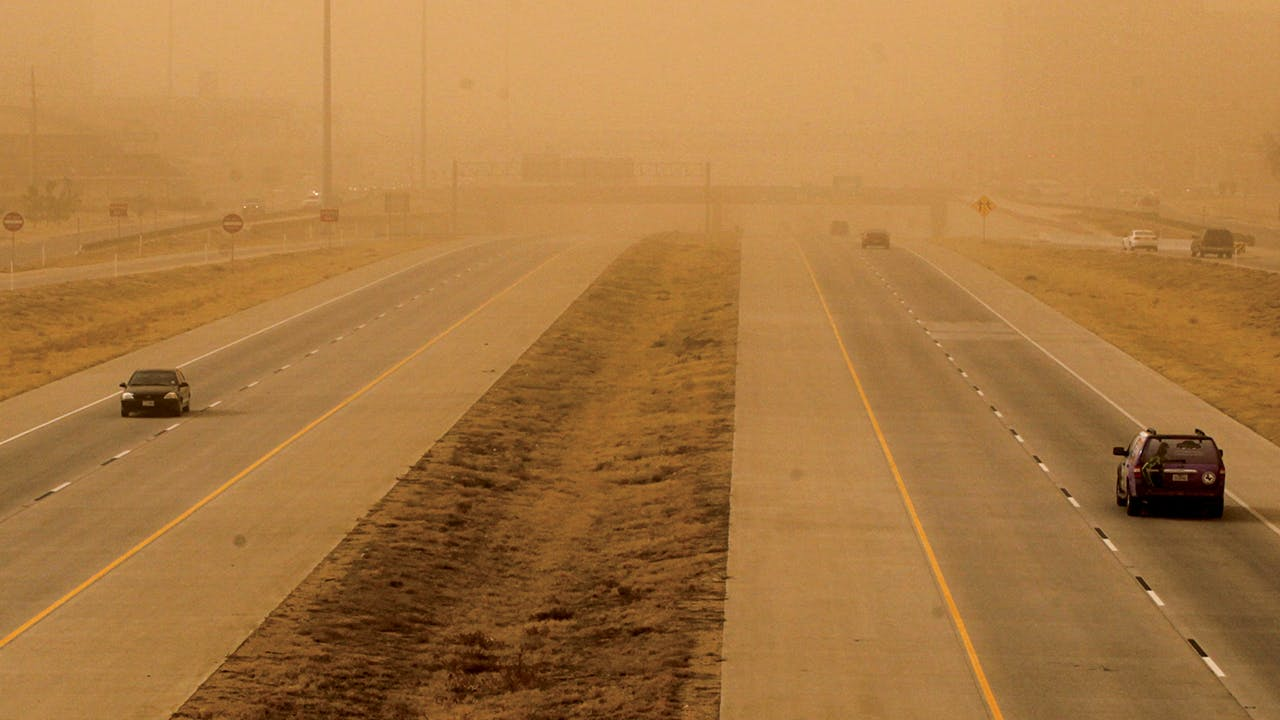The Marsha Sharp Freeway during a dust storm in Lubbock on December 19, 2012.