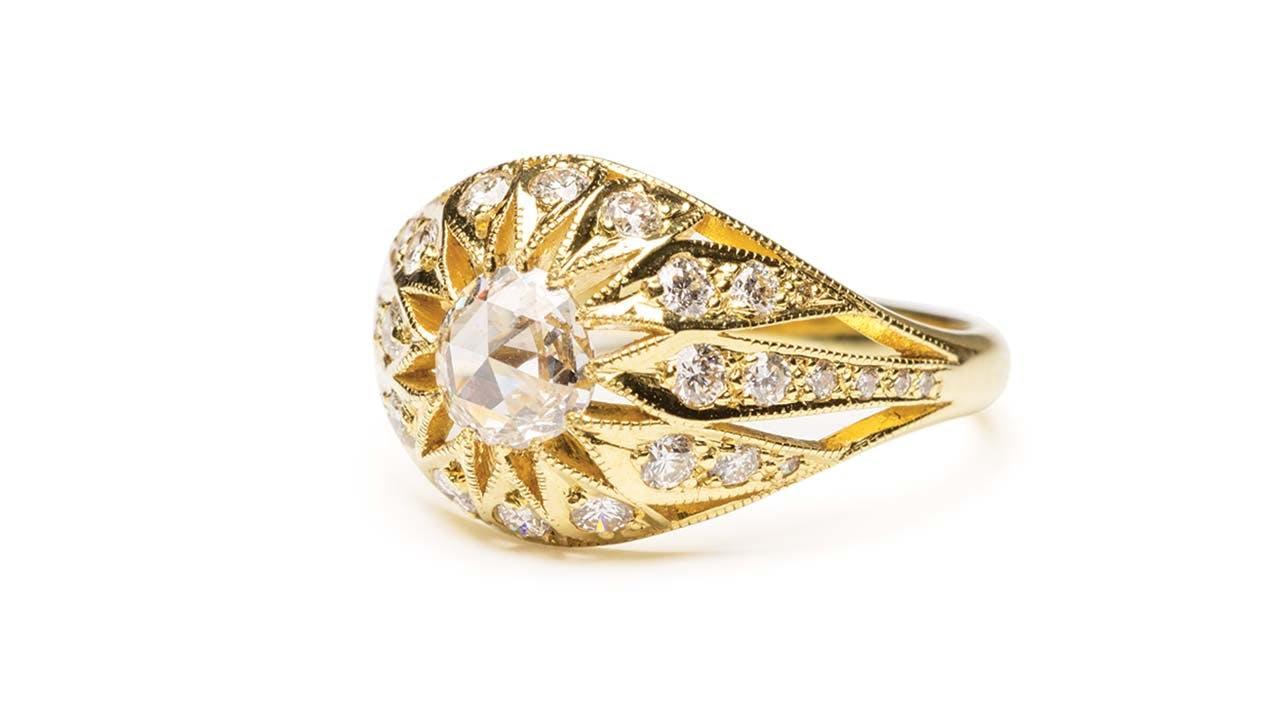 A rose-cut-diamond Tamaya ring, $4,690.