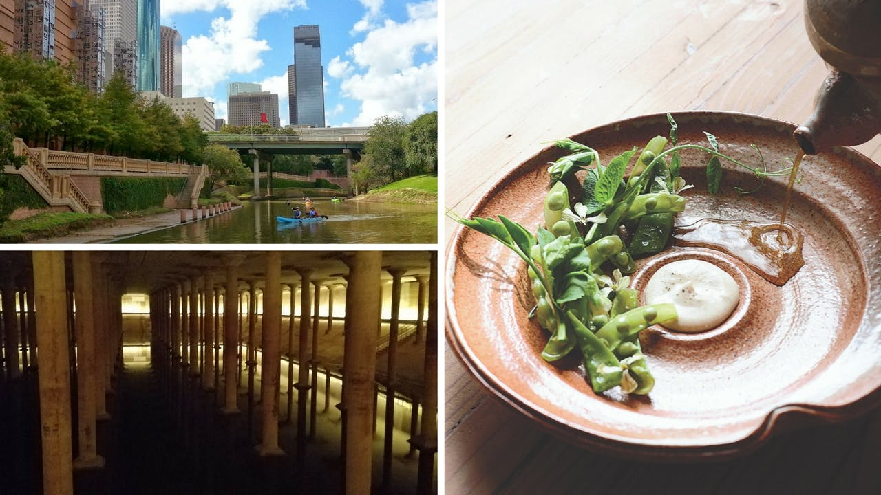 Kayakers along Buffalo Bayou (top left), the subterranean Cistern (bottom left), and a dish at Oxheart (right).
