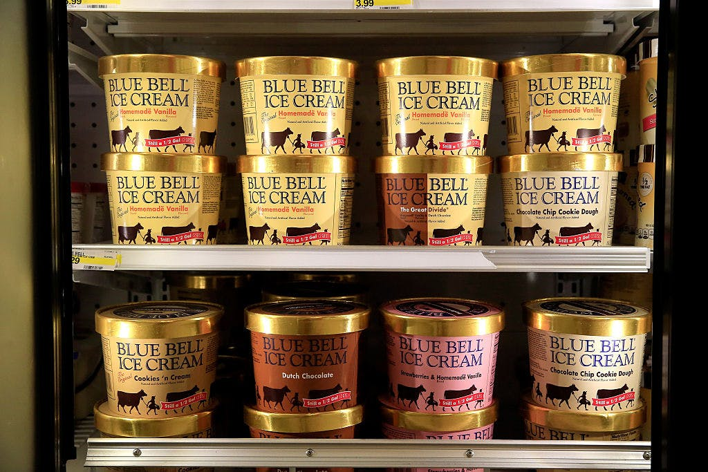 Blue Bell Ice Cream is seen on shelves of an Overland Park grocery store prior to being removed on April 21, 2015 in Overland Park, Kansas. On Tuesday, Blue Bell again recalled select products out of concern for possible listeria contamination.