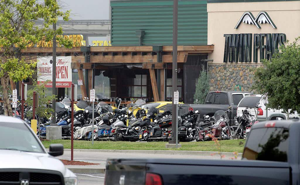 The Twin Peaks restaurant, the scene of a motorcycle gang shootout, is seen May 18, 2015 in Waco, Texas. A shootout between rival biker gangs began in the afternoon May 17, led to nine dead, many injured and 170 arrested.