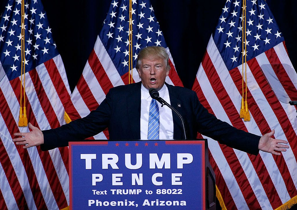 Republican presidential nominee Donald Trump speaks during a campaign rally on August 31, 2016 in Phoenix, Arizona. Trump detailed a multi-point immigration policy during his speech.