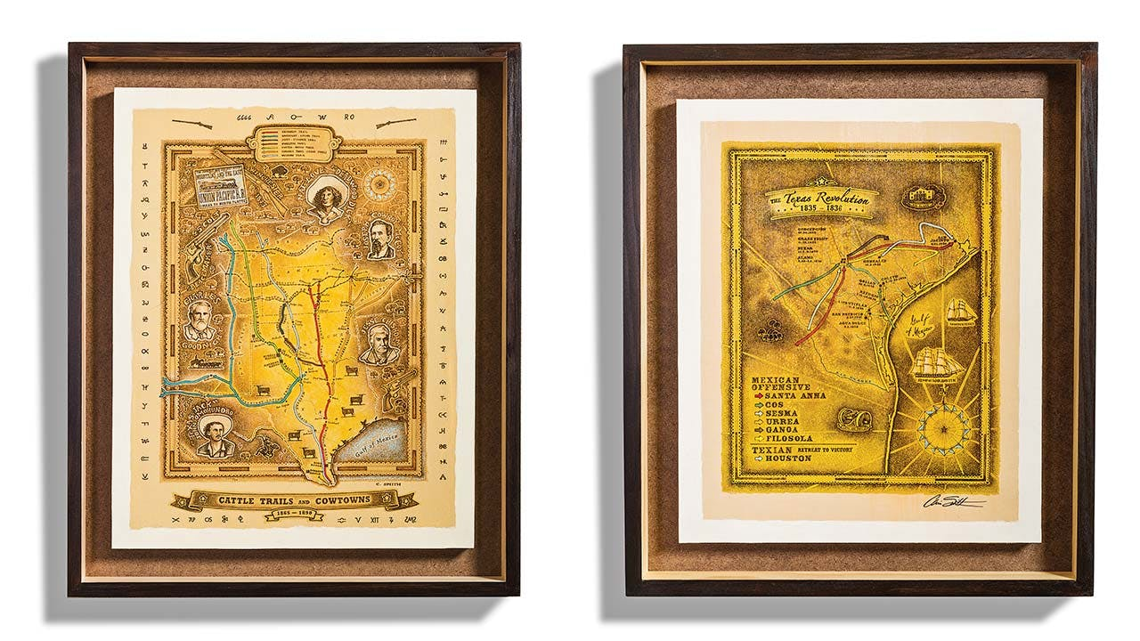 Two of Smith's maps, Cattle Trails and Cowtowns ($35 to $4,300) and The Texas Revolution ($20 to $2,400).