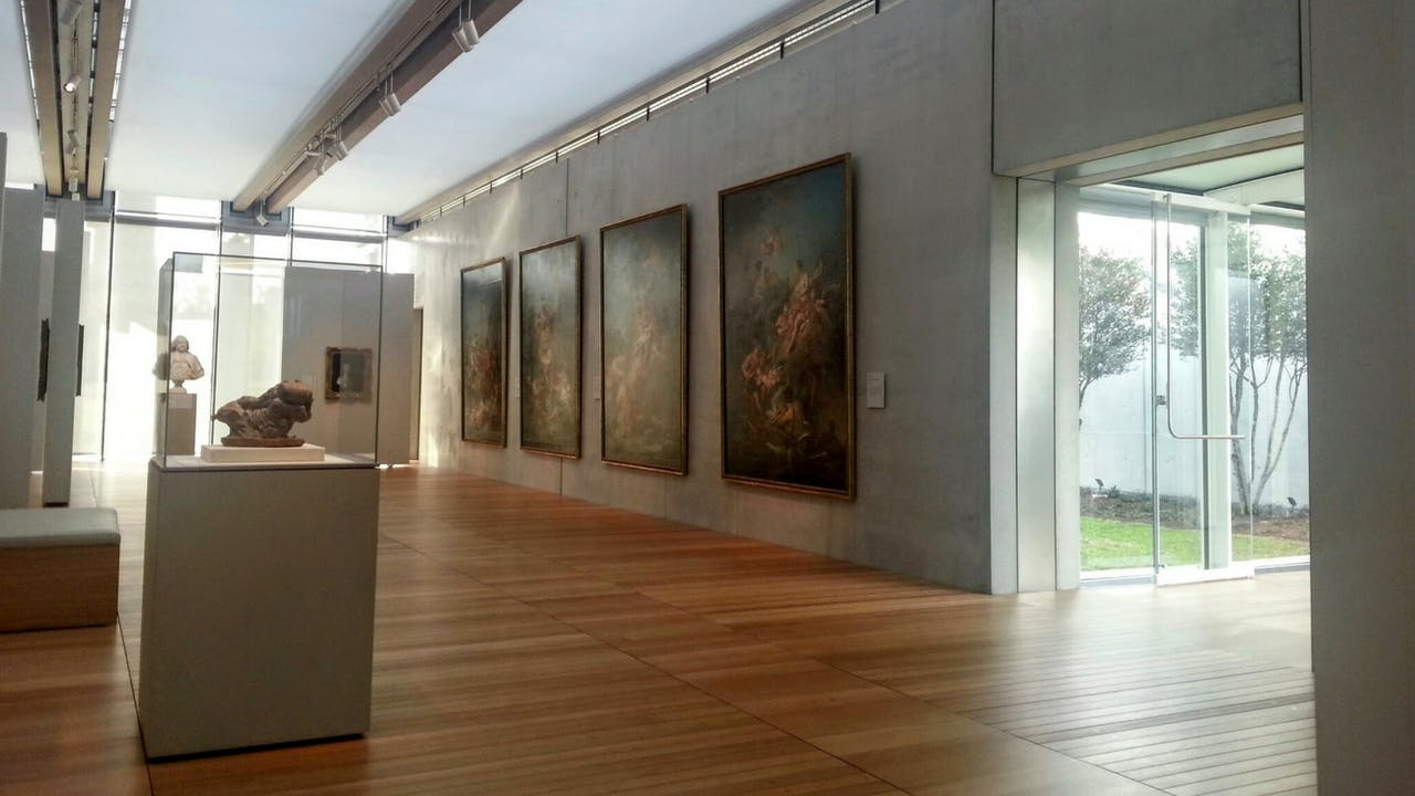 A gallery inside the Piano Pavilion at the Kimbell Art Museum, in Fort Worth.