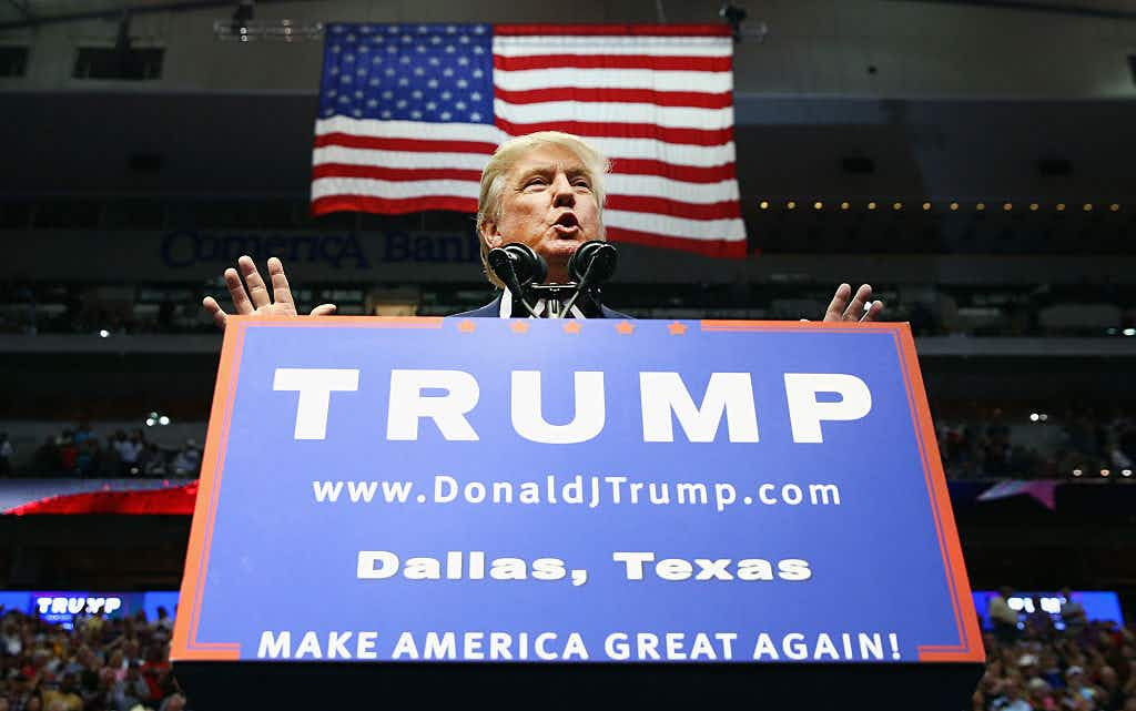 Republican presidential candidate Donald Trump speaks during a campaign rally at the American Airlines Center on September 14, 2015 in Dallas, Texas. More than 20,000 tickets have been distributed for the event. (Photo by Tom Pennington/Getty Images)