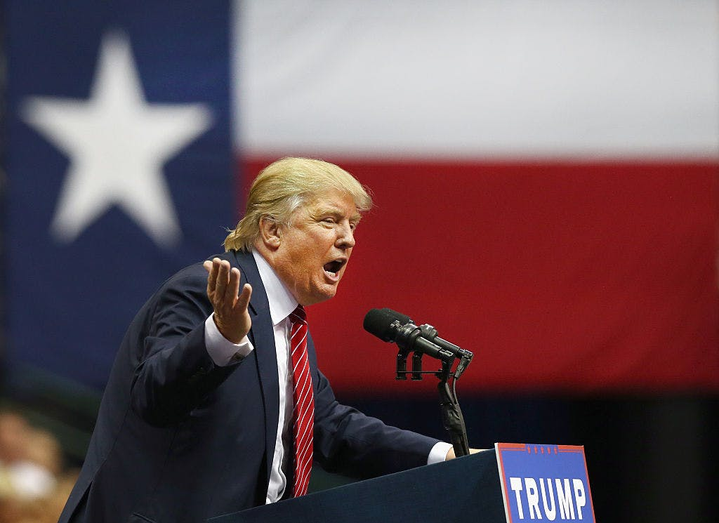 Republican presidential candidate Donald Trump speaks during a campaign rally at the American Airlines Center on September 14, 2015 in Dallas, Texas.