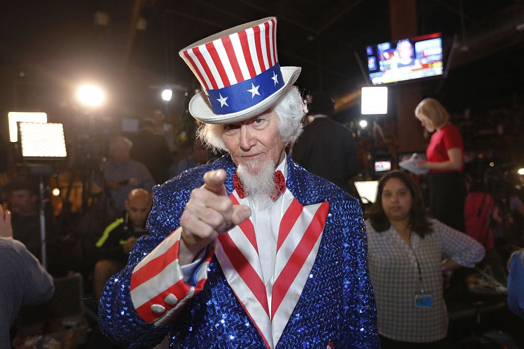 You can bet this Texan will cast his ballot. John Evans dressed as Uncle Sam of Kingwood, Texas, at a Super Tuesday watch party held by then-presidential candidate Ted Cruz at the Redneck Country Club March 1, 2016 in Stafford, Texas. I think that might be his real beard?