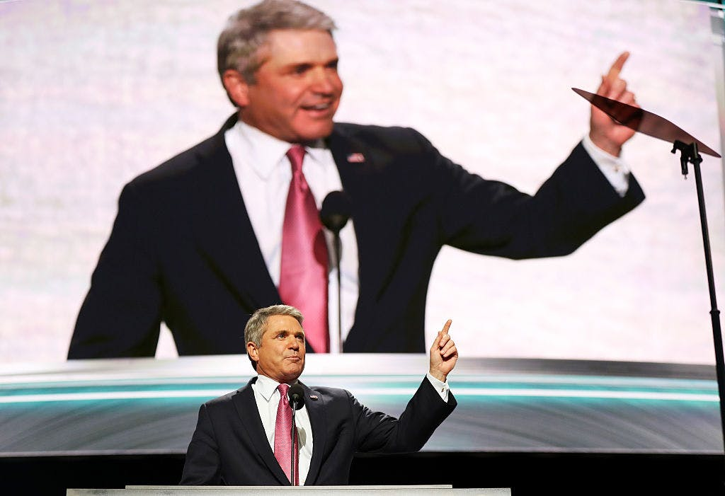 House Homeland Security Committee Chairman Rep. Michael McCaul (R-TX) delivers a speech on the first day of the Republican National Convention on July 18, 2016 at the Quicken Loans Arena in Cleveland, Ohio.
