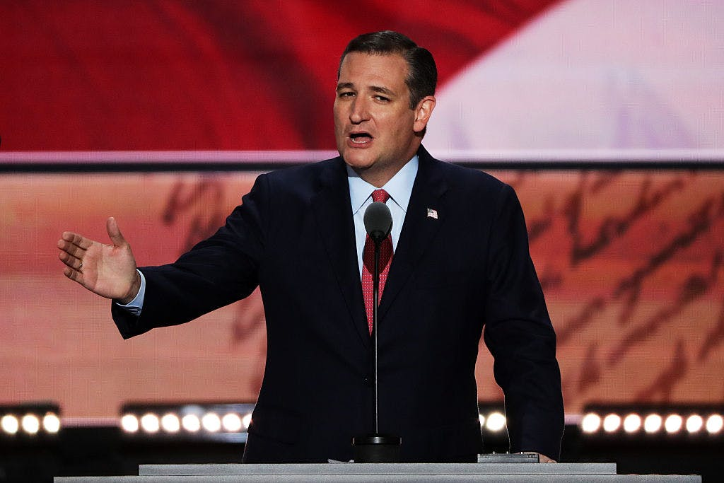 Sen. Ted Cruz speaks on the third day of the Republican National Convention on July 20, 2016 at the Quicken Loans Arena in Cleveland, Ohio.