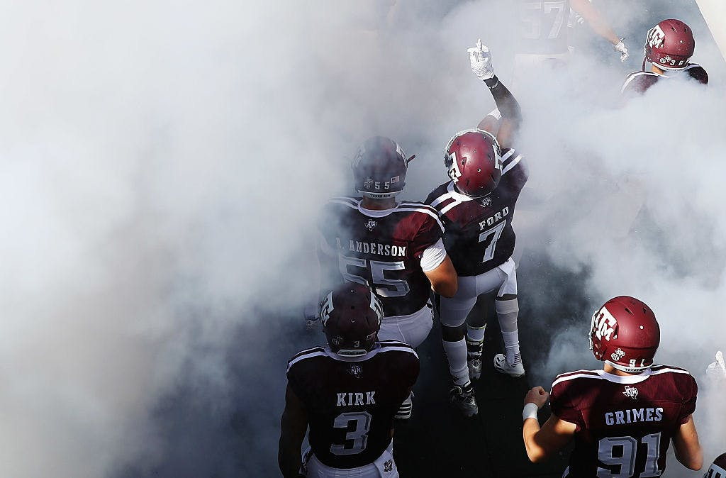 The Texas A&M Aggies walk out to the field prior to the start of their game against the Tennessee Volunteers at Kyle Field on October 8, 2016 in College Station, Texas.