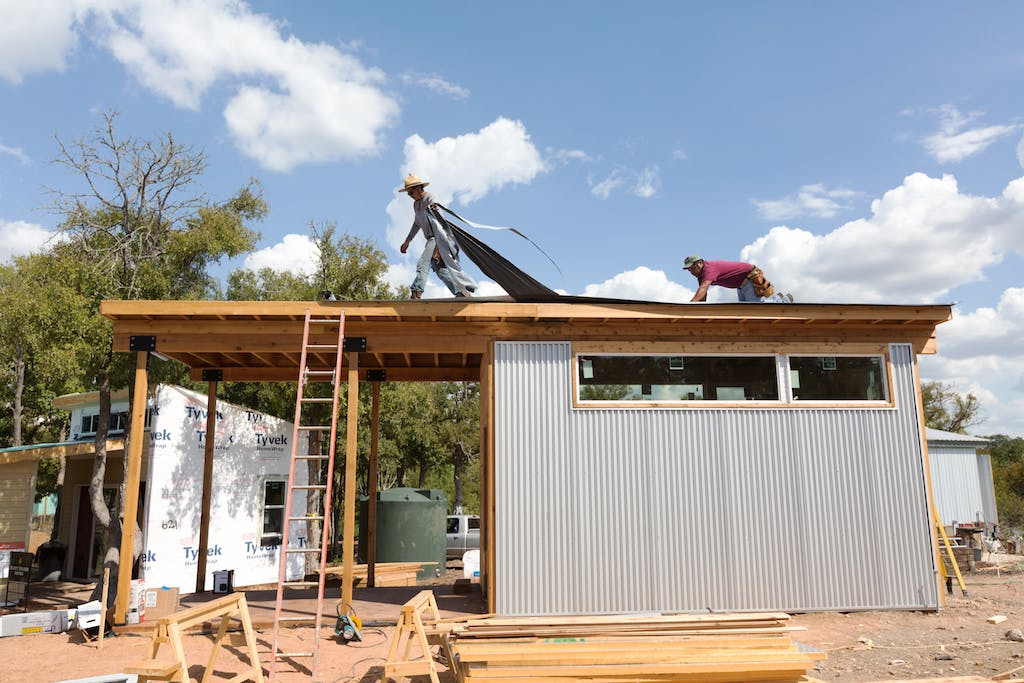 Construction in Austin's tiny home community.
