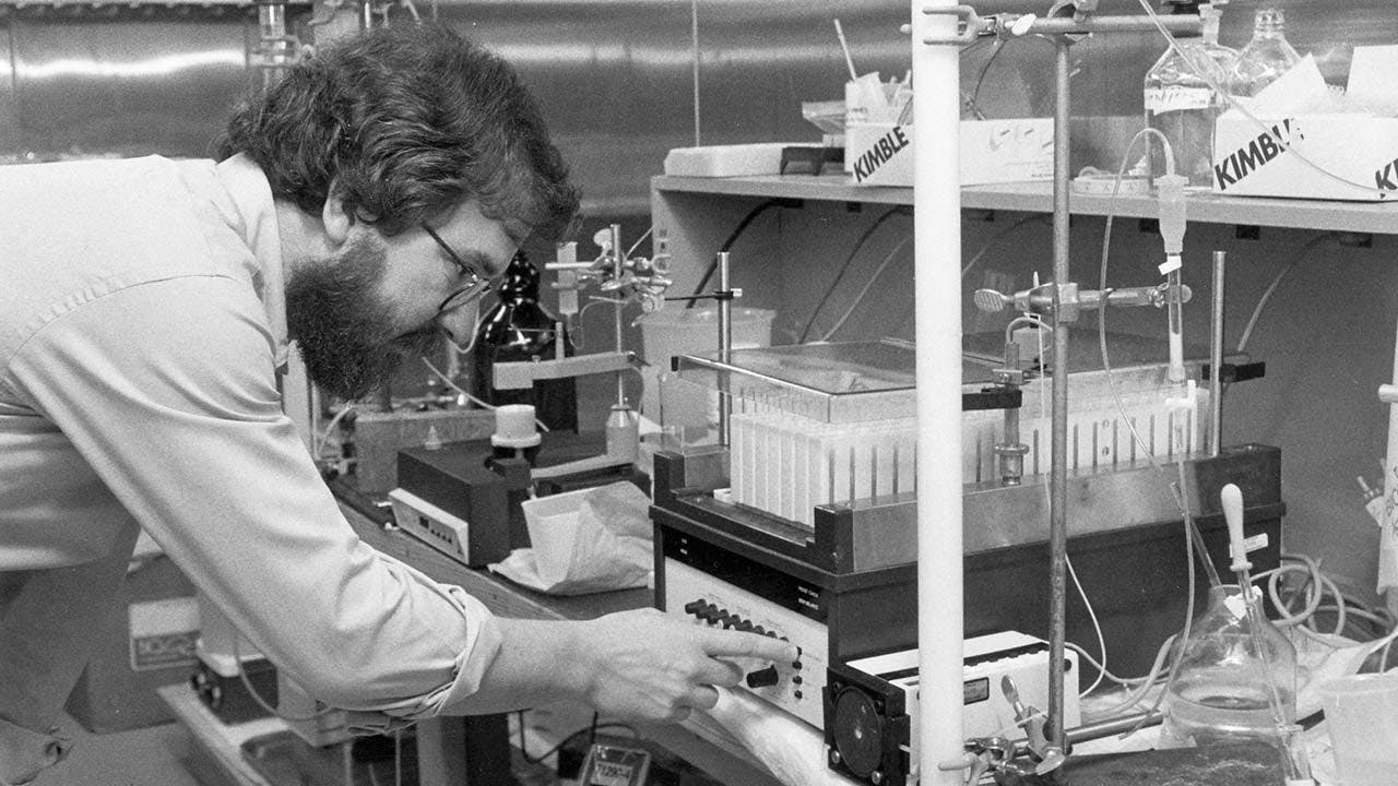Allison conducting research at the MD Anderson facility outside Smithville, where he worked from 1977 to 1984.
