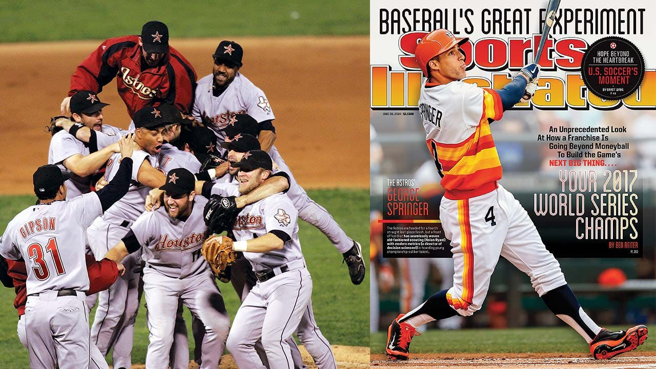 The Astros celebrate their first and only pennant after beating the St. Louis Cardinals in game six of the 2005 NLCS; Sports Illustrated's bold cover prediction in 2014.