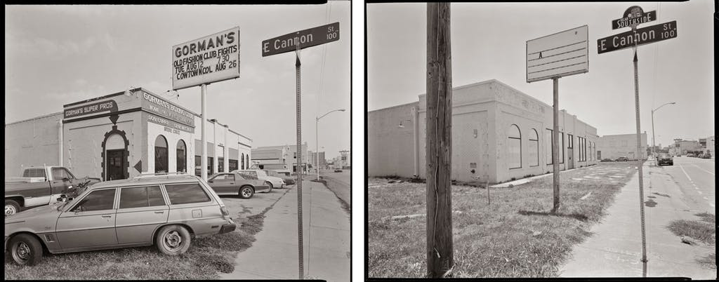 Left: A street in Fort Worth photographed in 1980 by Byrd Williams IV. Right: The same street in 2015.