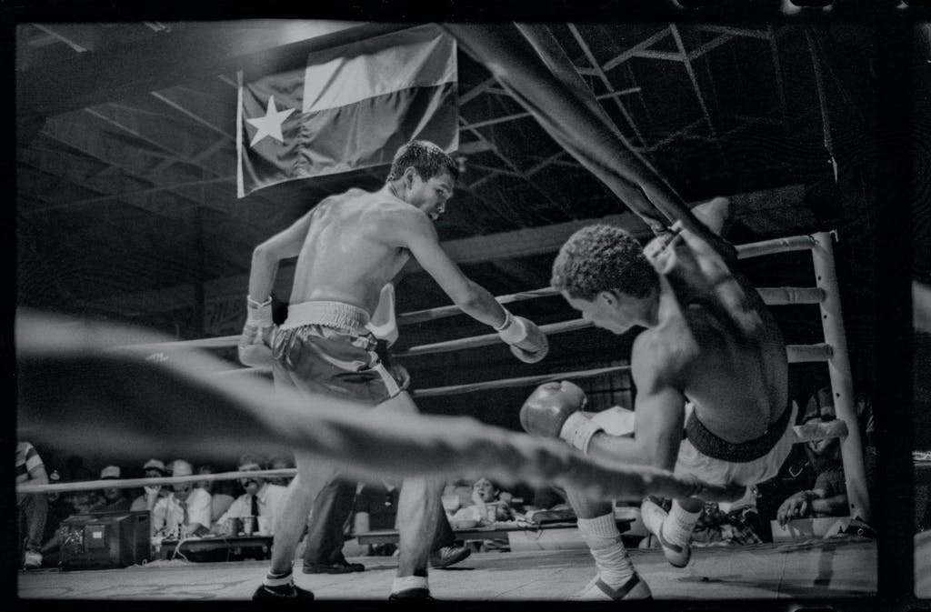 Knockout at Gorman's Saturday Night Club fight, 100 East Cannon Street, Fort Worth. Photograph by Byrd Williams IV, 1986.