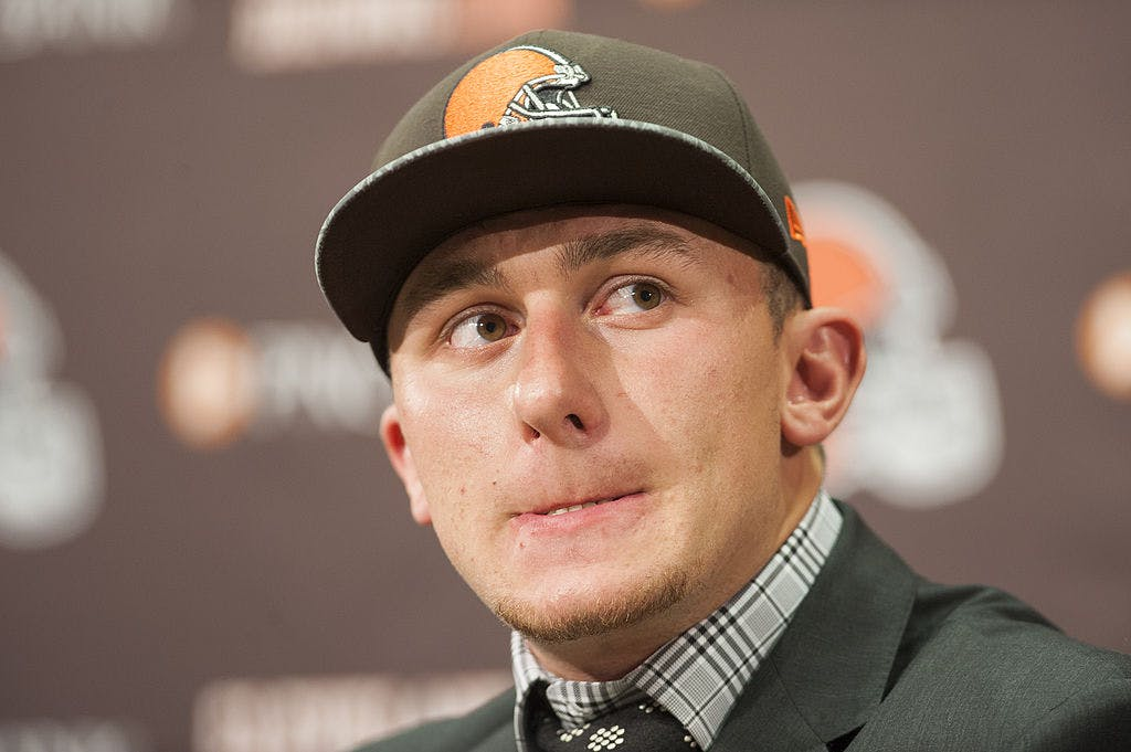 BEREA, OH - MAY 9: Cleveland Browns draft pick Johnny Manziel answers questions during a press conference at the Browns training facility on May 9, 2014 in Cleveland, Ohio.
