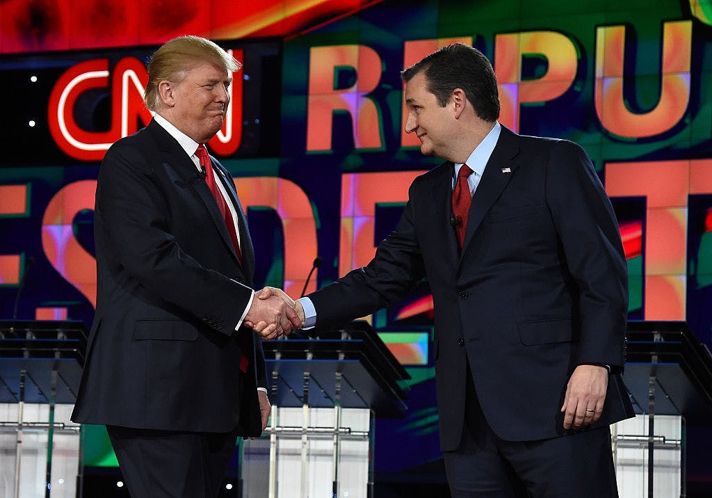 LAS VEGAS, NV - DECEMBER 15: Republican presidential candidates Donald Trump (L) and Sen. Ted Cruz (R-TX) shake hands as they are introduced during the CNN presidential debate at The Venetian Las Vegas on December 15, 2015 in Las Vegas, Nevada.