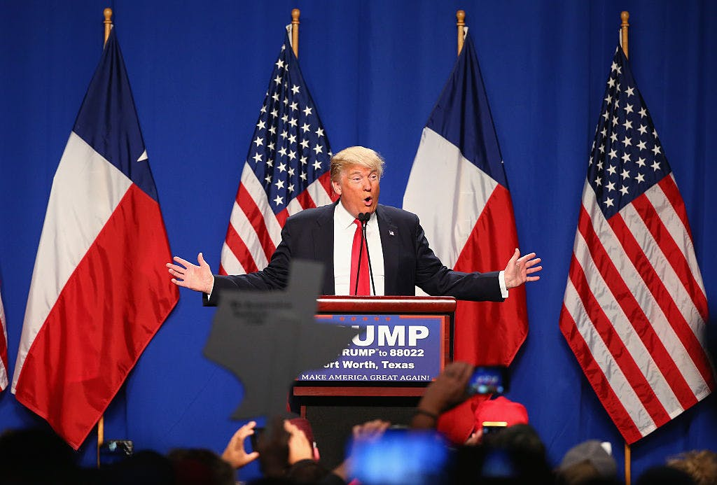 Republican presidential candidate Donald Trump speaks at a rally at the Fort Worth Convention Center on February 26, 2016 in Fort Worth, Texas.