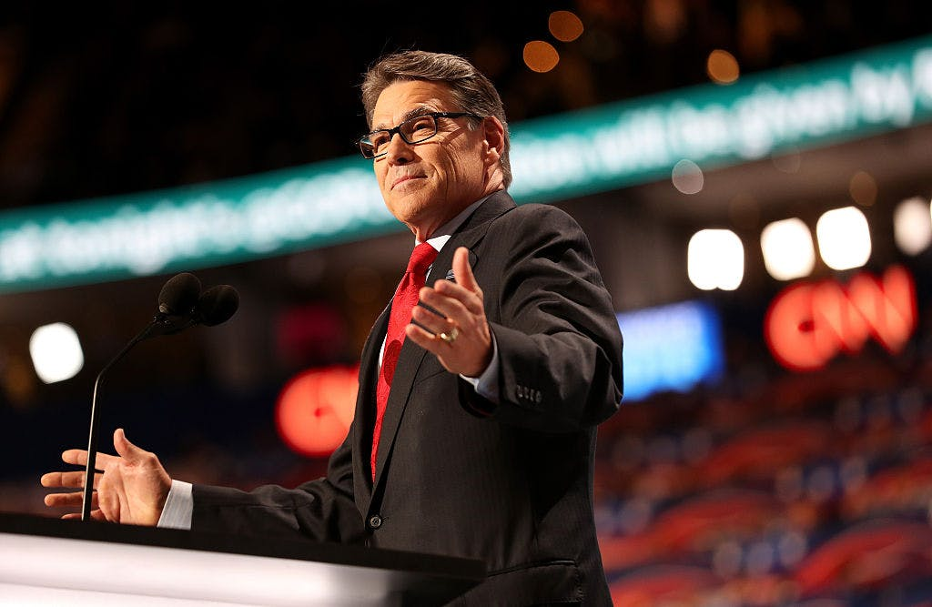 Former Texas Governor Rick Perry delivers a speech on the first day of the Republican National Convention on July 18, 2016 at the Quicken Loans Arena in Cleveland, Ohio.
