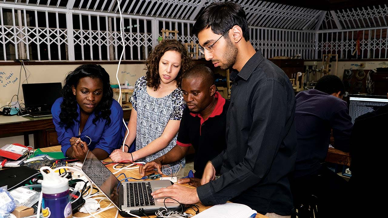 Students from Rice and the University of Malawi Polytechnic working together in Malawi in June 2016.